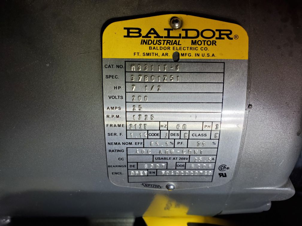 Baldor electric motor and phase converter