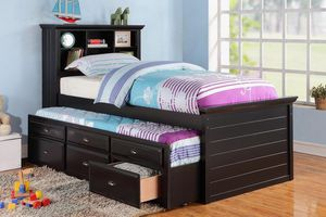 Black finish twin bed with trundle for Sale in Rockville, MD