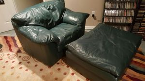 Over Sized Leather Chair and Ottoman for Sale in Charlottesville, VA