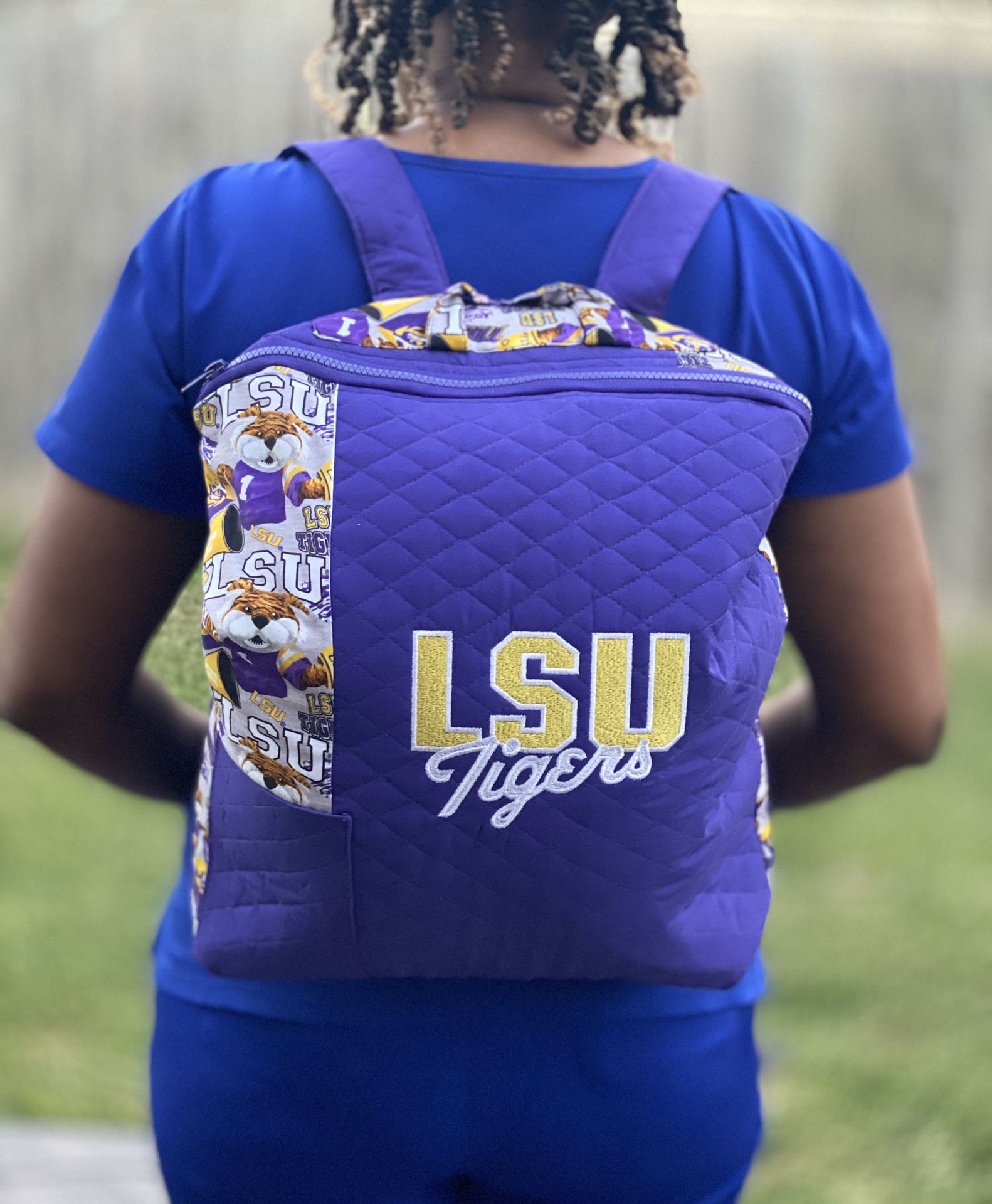HANDMADE Quilted LSU Backpack
