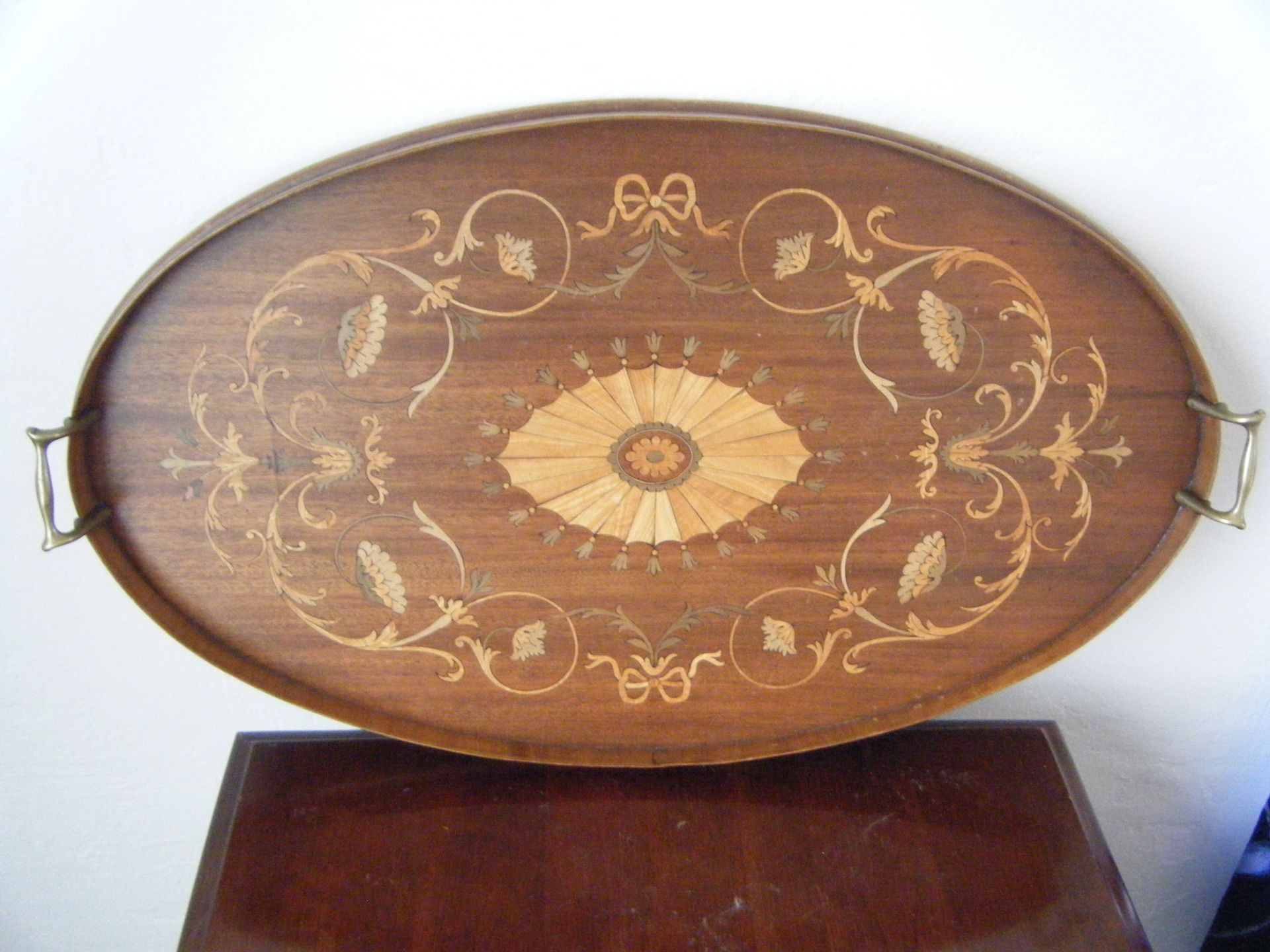 Antique inlaid serving tray - $300