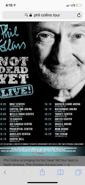 1 Ticket to Phil Collins tonight at United Center for Sale in Chicago, IL
