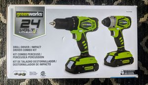 Greenworks 24V Drill Driver and Impact Driver Combo for Sale in Annandale, VA
