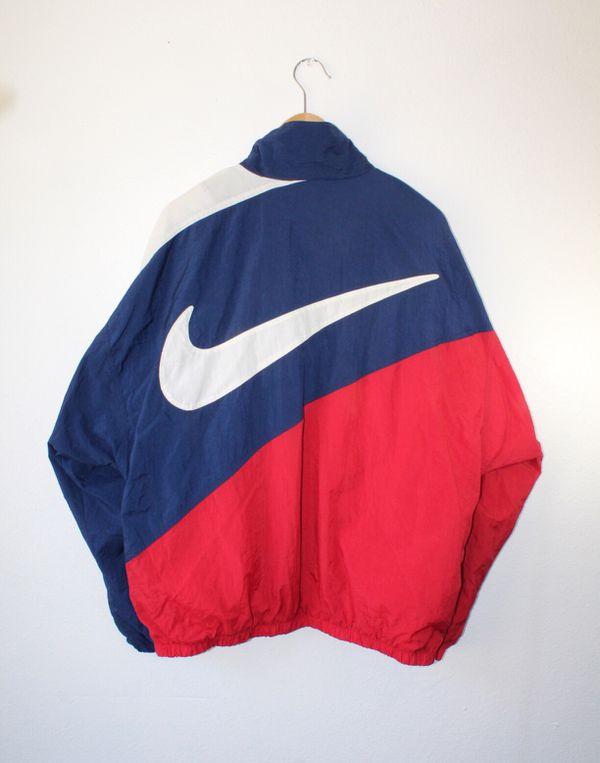 7704f5e3dc38 Rare Vintage 90s Nike Air BIG Swoosh Windbreaker Jacket Size Large ...