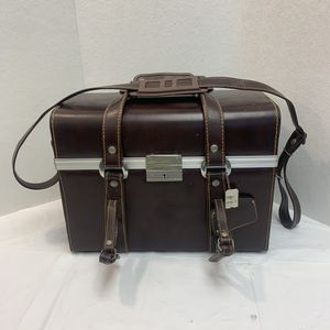 Photo Vintage Camera Case Brown Leather Hard Shell with Long Adjustable Strap