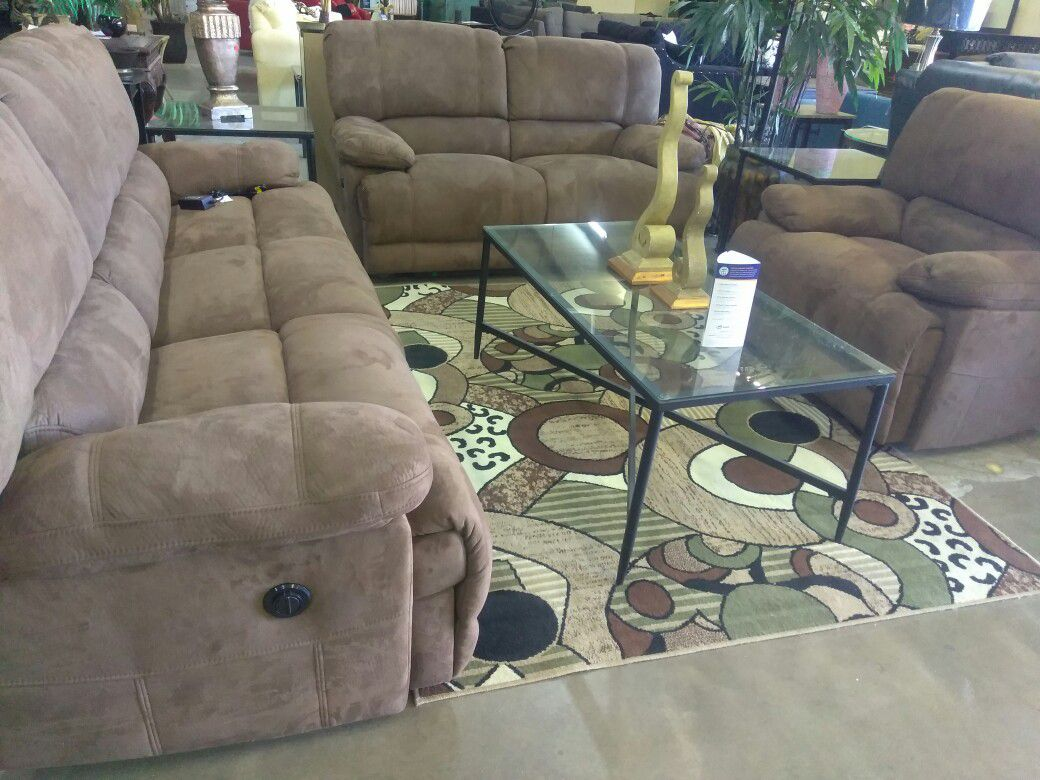 Pakage deal 3 pcs clot brown electric living room set