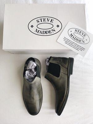 a6598cec9c5 New STEVE MADDEN Impass Leather Chelsea Mid Boots Men's Shoes Size ...