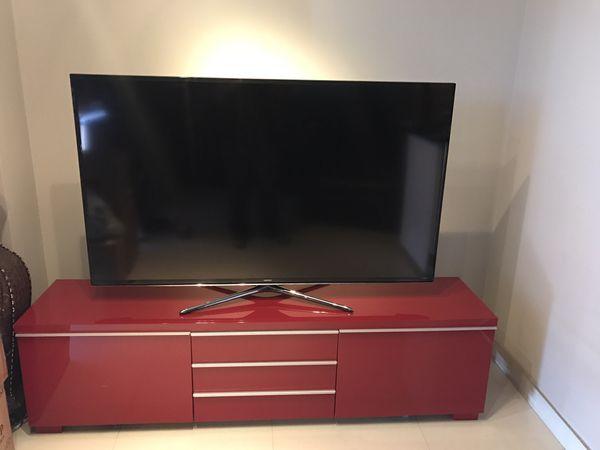 Ikea Besta Tv Stand Red Gloss Modern Contemporary