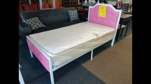 $279 package price pink color metal platform bed includes twin size mattress for Sale in College Park, MD
