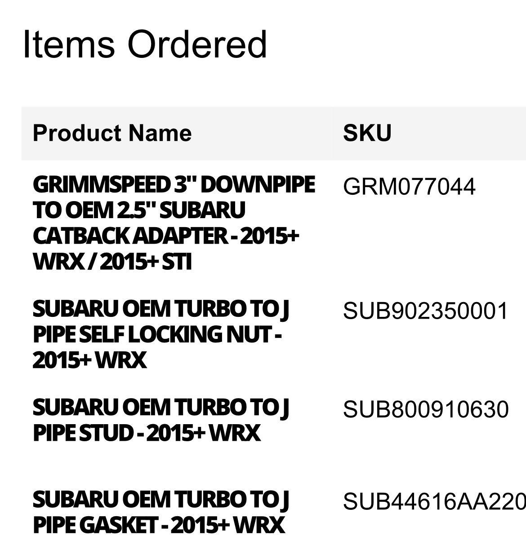 2015 Subaru WRX Catted J Pipe/ Intermediate Pipe