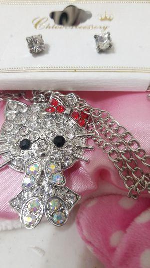 Photo New Hello Kitty Rehinstone Necklace& Earings set