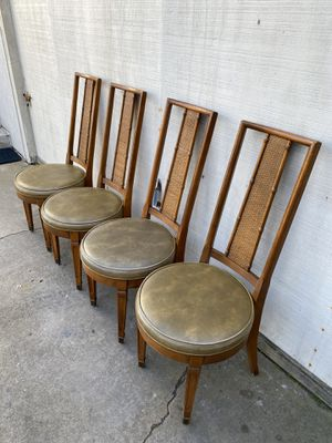 Photo Mid Century Modern Vintage Cane Dining Kitchen Chairs Set of 4
