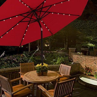 New 10 Feet Solar Led Outdoor Patio Umbrella Tilt Adjustable Crank