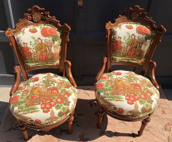 Pair of Antique Victorian Eastlake chairs, Parlor Chairs, Accent chairs - Pair Of Antique Victorian Eastlake Chairs, Parlor Chairs, Accent