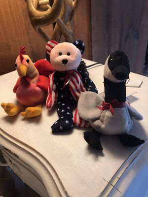Photo 1996 Rooster, 1997 Bear, 1999 Goose beanie babies with no tags but they are TY beanies