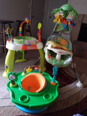 Used, Fisher price baby swinger,bouncer and a booster seat.. clean and everything works.. have all straps and plugs.. for sale  Tulsa, OK