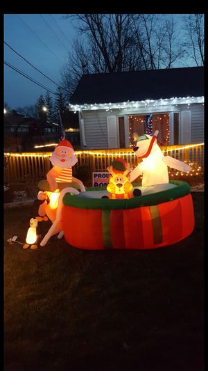 Santa in swimming pool with moving reindeer head for Sale in Monee, IL