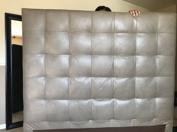 61339c9f95 Used West Elm Tall Grid-Tufted Leather Headboard for Sale in Baltimore, MD  - OfferUp
