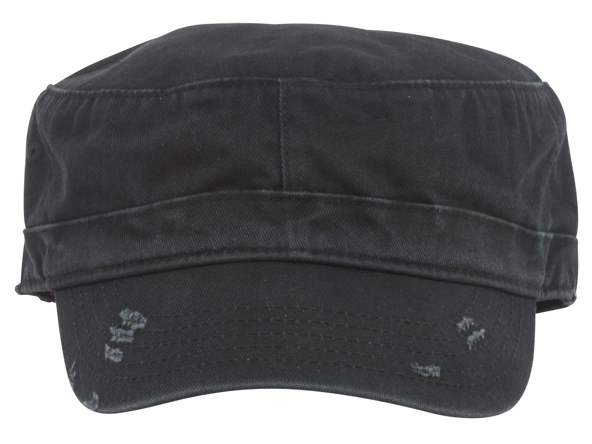 Distressed Washed Cadet Army Cap- Black