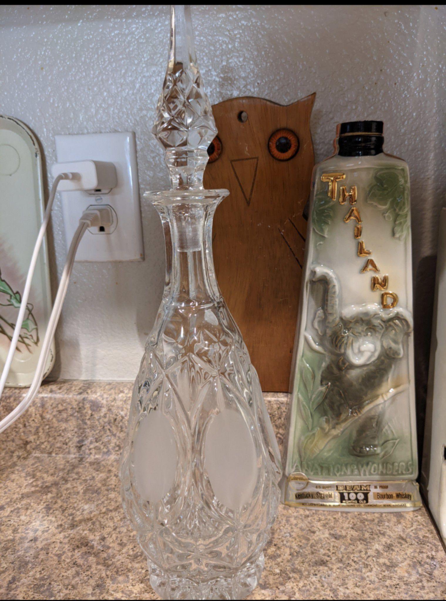 Mid century modern barware vintage decanter lead crystal unused