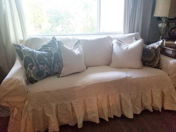 Off White Cotton Duck Ruffle Sofa Slipcover For Sale In Hollywood Fl