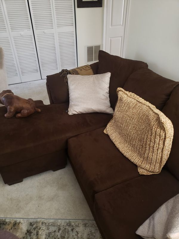 Brown Microsuede Sectional