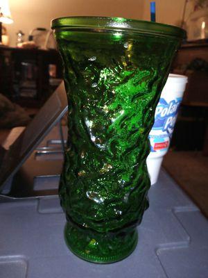 Photo Vintage E.O. Brody emerald green crinkle vase