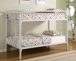 Photo White Twin Over Twin Bunk Bed Frame