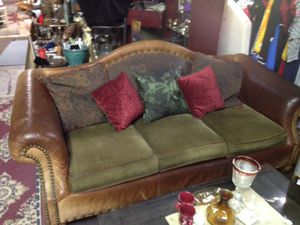 Brown Leather and fabric couch for Sale in Covington, GA