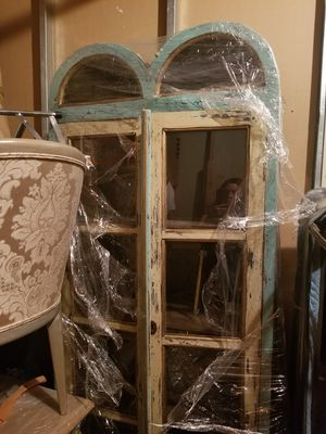 Tall and narrow repro cream and aqua cabinet glass viewing for collectibles/knick knacks. for Sale in Burbank, CA