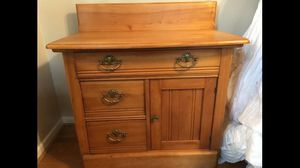Antique Victorian Eastlake Oak Washstand 1880s pin and cove dovetail for Sale in Fairfax, VA