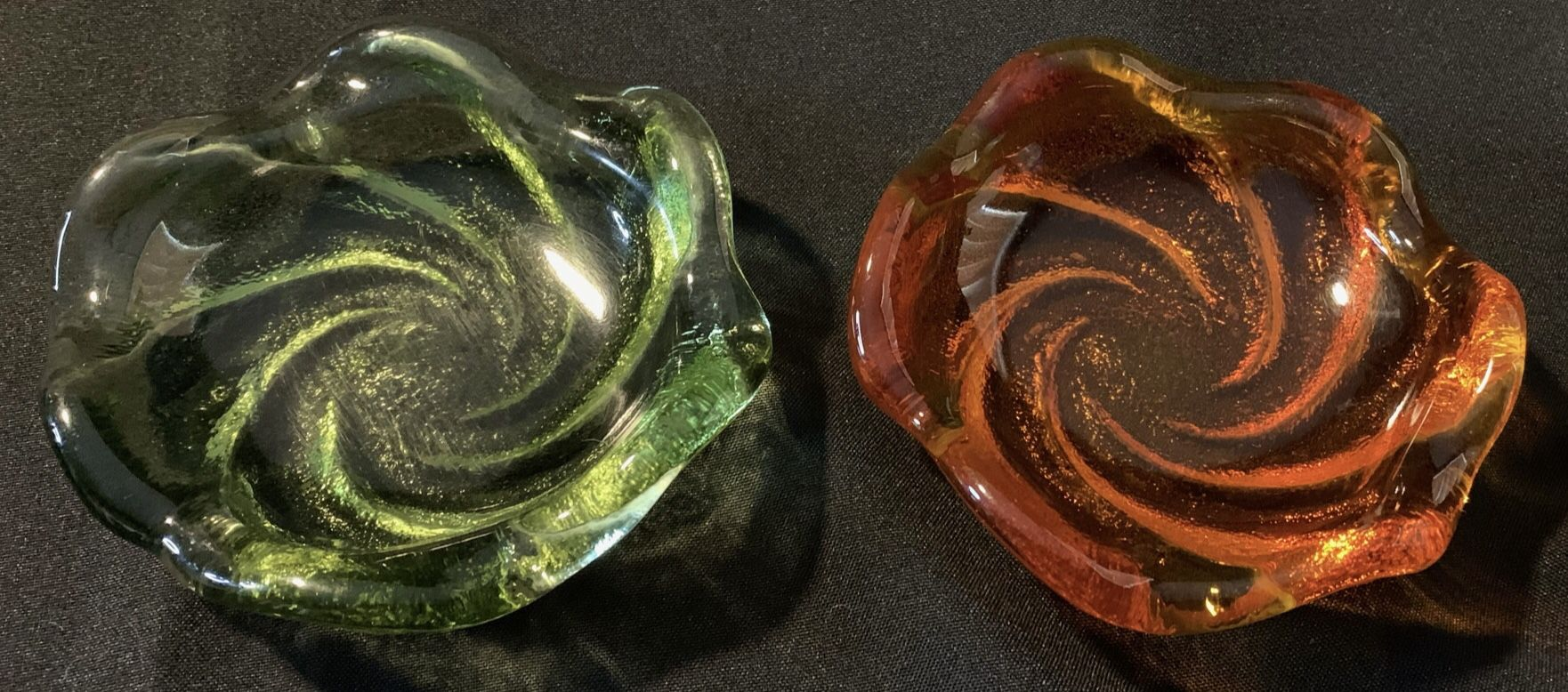 Pair of Heavy Vintage Glass Dishes (Soap Dishes?).