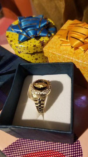 Mens 14k gold ring Italian size 10 with black stone more virgin guadeloupe for Sale in Manassas, VA