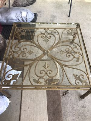 Gorgeous antique wrought iron table glass top gold tone rustic home decor vintage coffee table indoor outdoor furniture for Sale in undefined