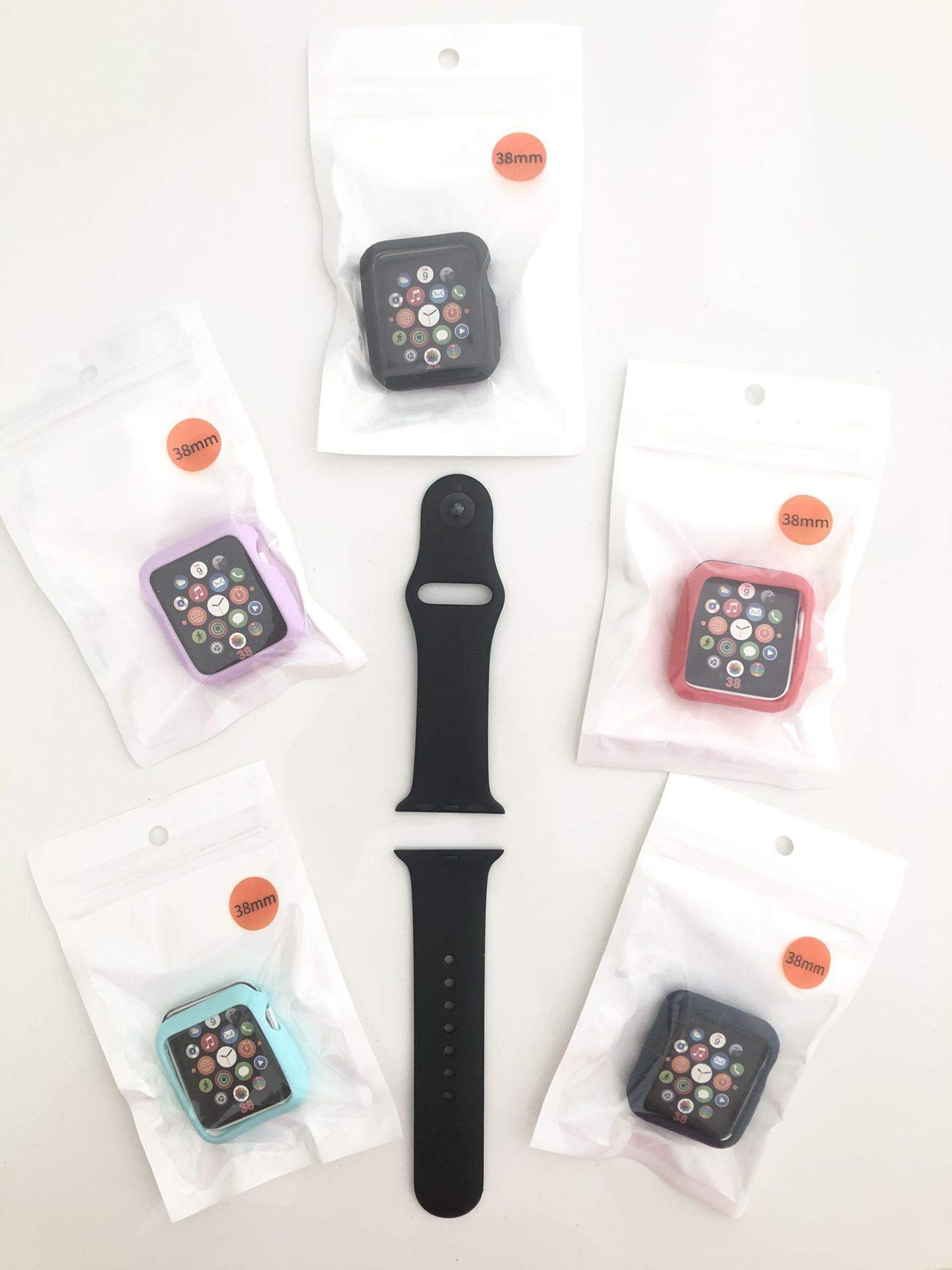 Apple Watch Band & 5 CASES - 38mm S/M band