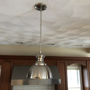 Brushed nickel pendant lights (2). Perfect for kitchen island. 9 inches in diameter and hangs approx 18 inches from ceiling. for Sale in Beverly, MA