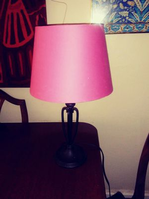 Cast iron lamp with pink shade for Sale in Richmond, VA