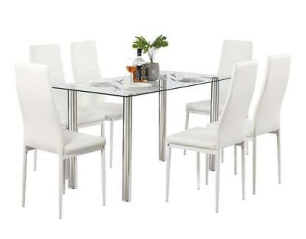 New white dining room set with 6 chairs for Sale in ...