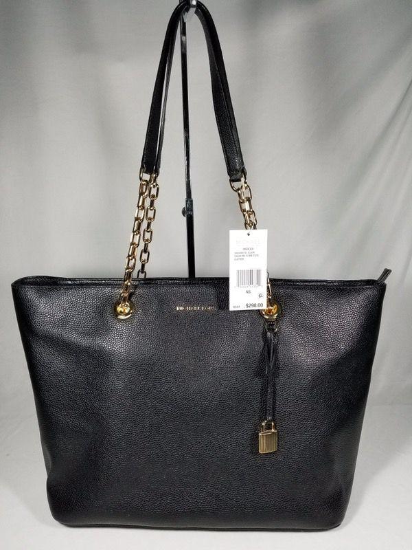 ecb8804fb195 ... where to buy nwt michael kors mk studio mercer chain medium top zip tote  black gold