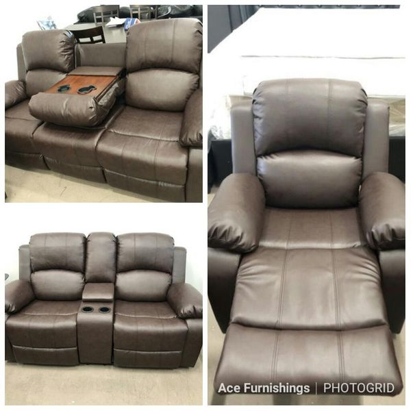 Brand New Brown Leather Reclining 3pc Set With Storage