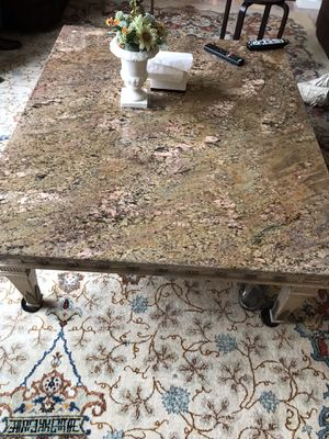 All stone coffee table with hand carved details for Sale in Chantilly, VA