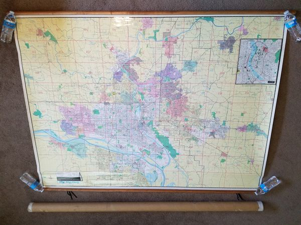 Huge Vintage 1997 Thomas Bros Laminated Wall Map Of Portland Or