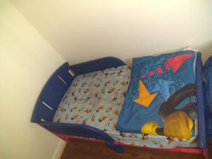 Toddler bed with mattress and bedding for Sale in Madison Heights, VA