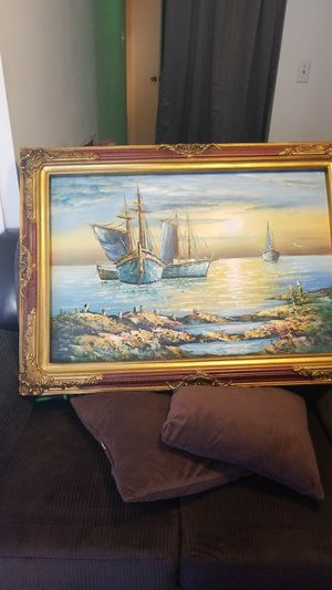 Hand painted original ship and ocean sunset painting for Sale in Herndon, VA