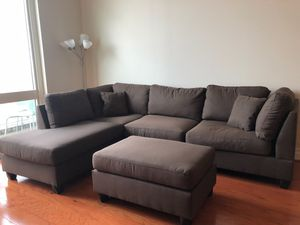 Brand Brown Linen Sectional Sofa Couch + Ottoman for Sale in Silver Spring, MD