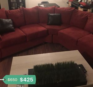 BURGUNDY/RED SOFA COUCH SECTIONAL with coffee table FOR SALE for Sale in Landover, MD