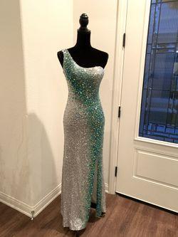 La Femme Maxi, One Shoulder, Silver and Teal Dress Thumbnail