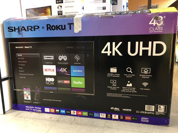 "Sharp 43"" 4K Smart roku Led tv for Sale in Diamond Bar, CA - OfferUp"