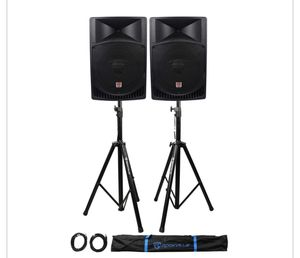 """Pair Rockville RPG15 15"""" 2000w Powered PA/DJ Speakers + 2 Stands + 2 Cables+Bag for Sale in Silver Spring, MD"""