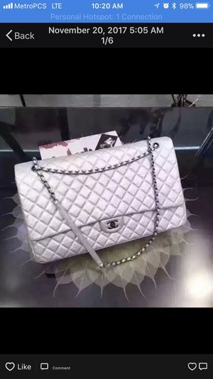 515b5a2a9896 Chanel XXL Classic flap silver color+ a gift of CHANEL EARRING for Sale in  Fremont